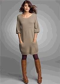 4474e5fa6c Beżowa sukienka dzianinowa z rękawami do łokcia - bon prix