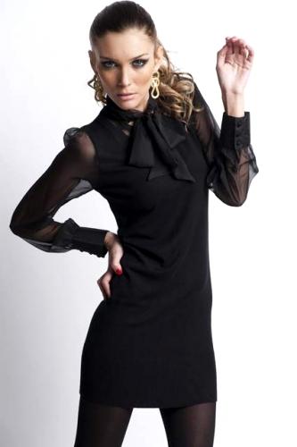 46b673a1e0 Czarna dzianinowa sukienka wieczorowa z żorżetowymi rękawami - NR 450 -1 -  muse