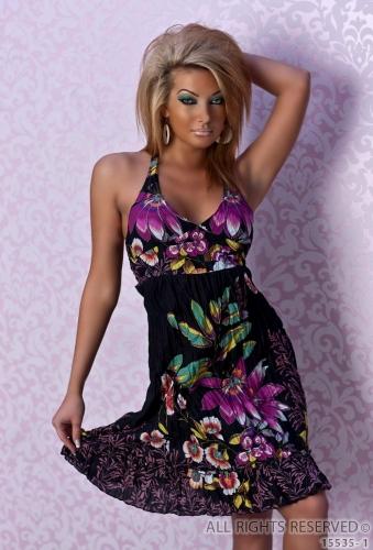 57c38d4935 Letnia bawełniana sukienka w kwiaty NR 400-2 - QoC